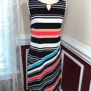 Apt. 9 sleeveless multi colored stripped dress M